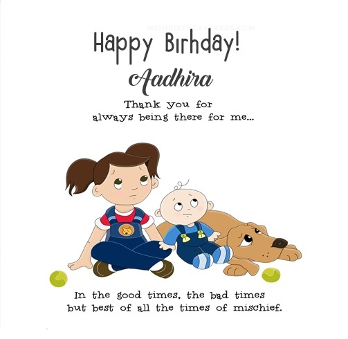 Aadhira happy birthday wishes card for cute sister with name