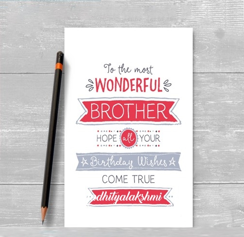 Aadhityalakshmi happy birthday cards for brother with name