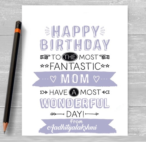 Aadhityalakshmi happy birthday cards for mom with name