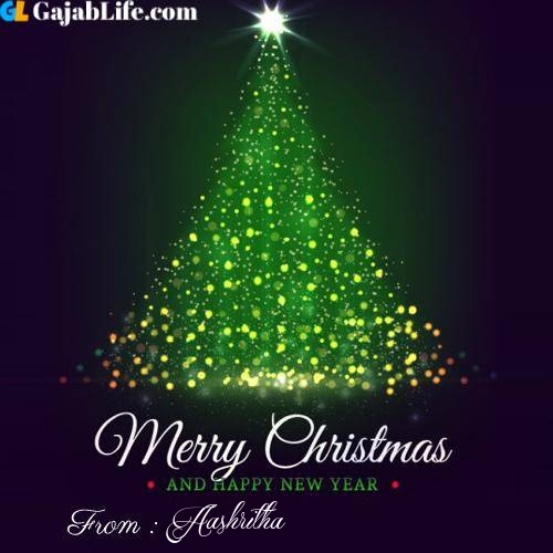 Aashritha wish you merry christmas with tree images