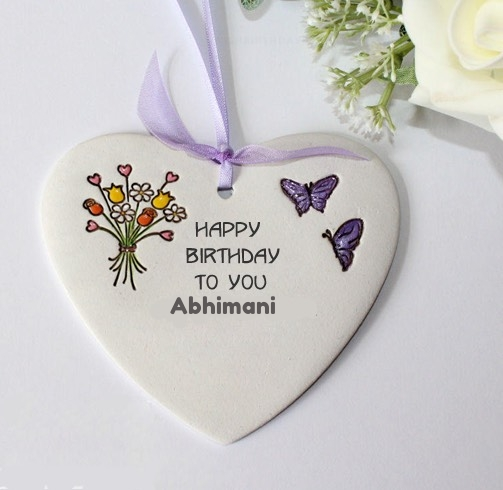 Abhimani happy birthday wishing greeting card with name