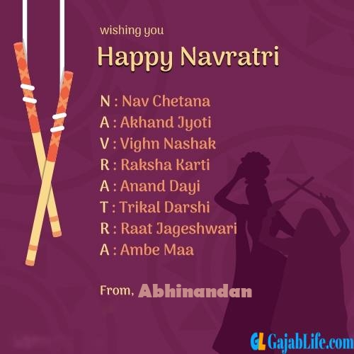 Abhinandan happy navratri images, cards, greetings, quotes, pictures, gifs and wallpapers
