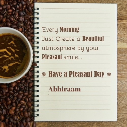 Abhiraam good morning wish greeting card