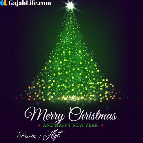 Abjit wish you merry christmas with tree images