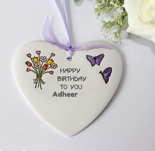 Adheer happy birthday wishing greeting card with name