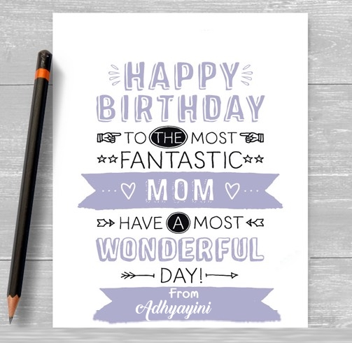 Adhyayini happy birthday cards for mom with name