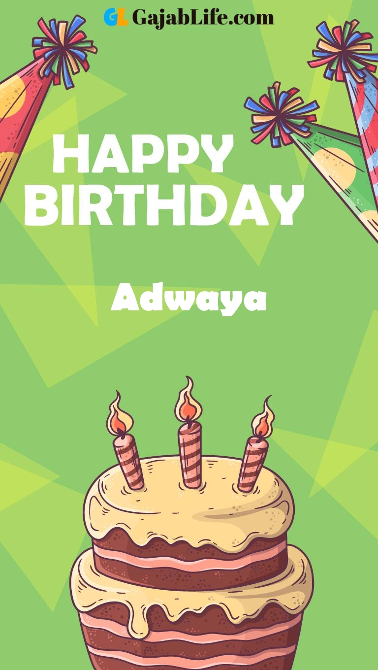 Adwaya happy birthday cake with name