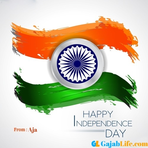 Aja happy independence day wishes image with name