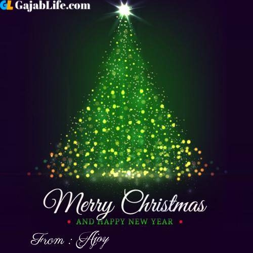 Ajoy wish you merry christmas with tree images