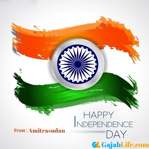 Amitrasudan happy independence day wishes image with name
