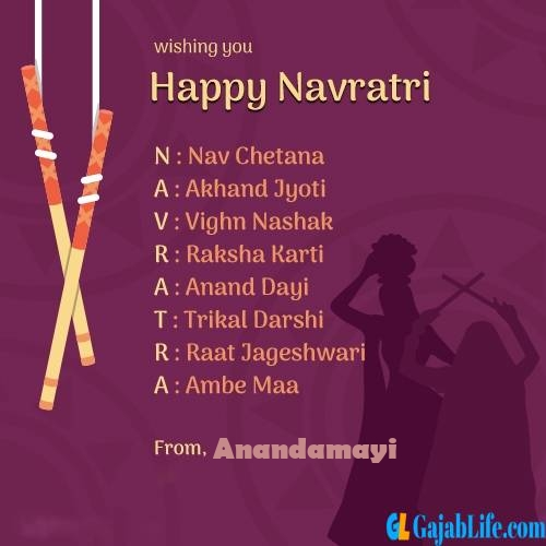 Anandamayi happy navratri images, cards, greetings, quotes, pictures, gifs and wallpapers