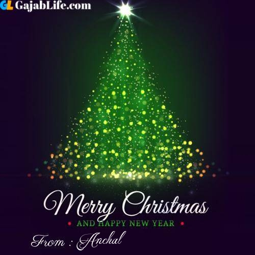 Anchal wish you merry christmas with tree images
