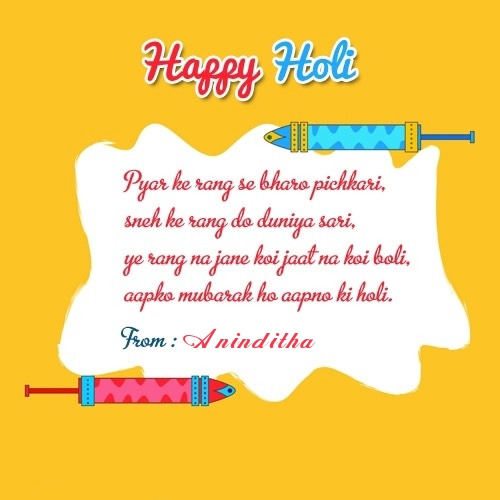 Aninditha happy holi 2019 wishes, messages, images, quotes,