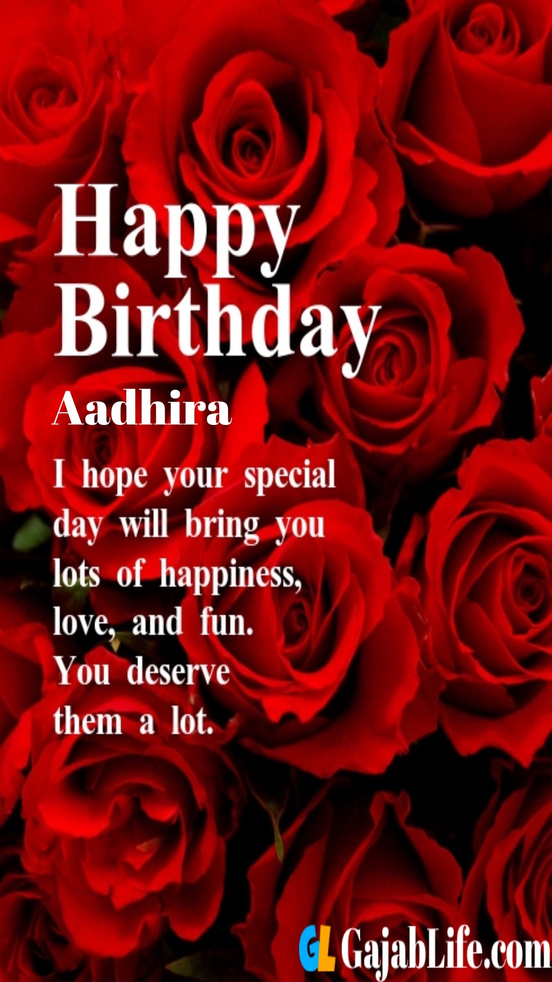 Aadhira birthday greeting card with rose & love