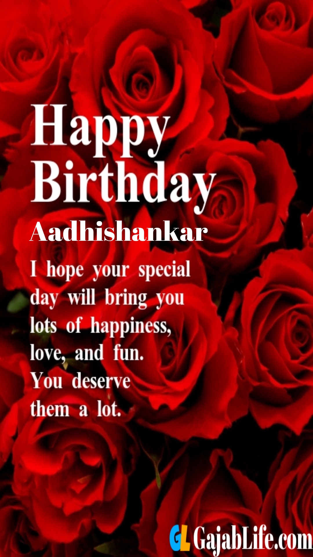 Aadhishankar birthday greeting card with rose & love