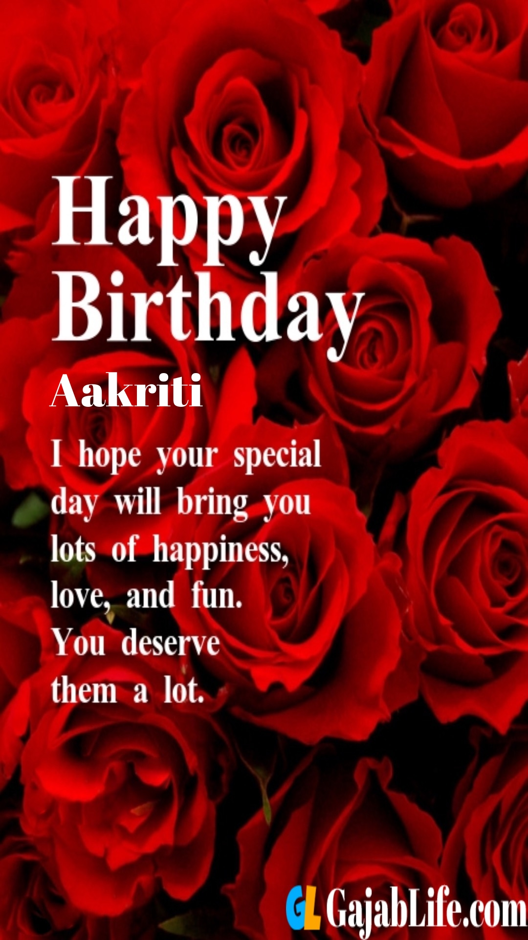 Aakriti birthday greeting card with rose & love