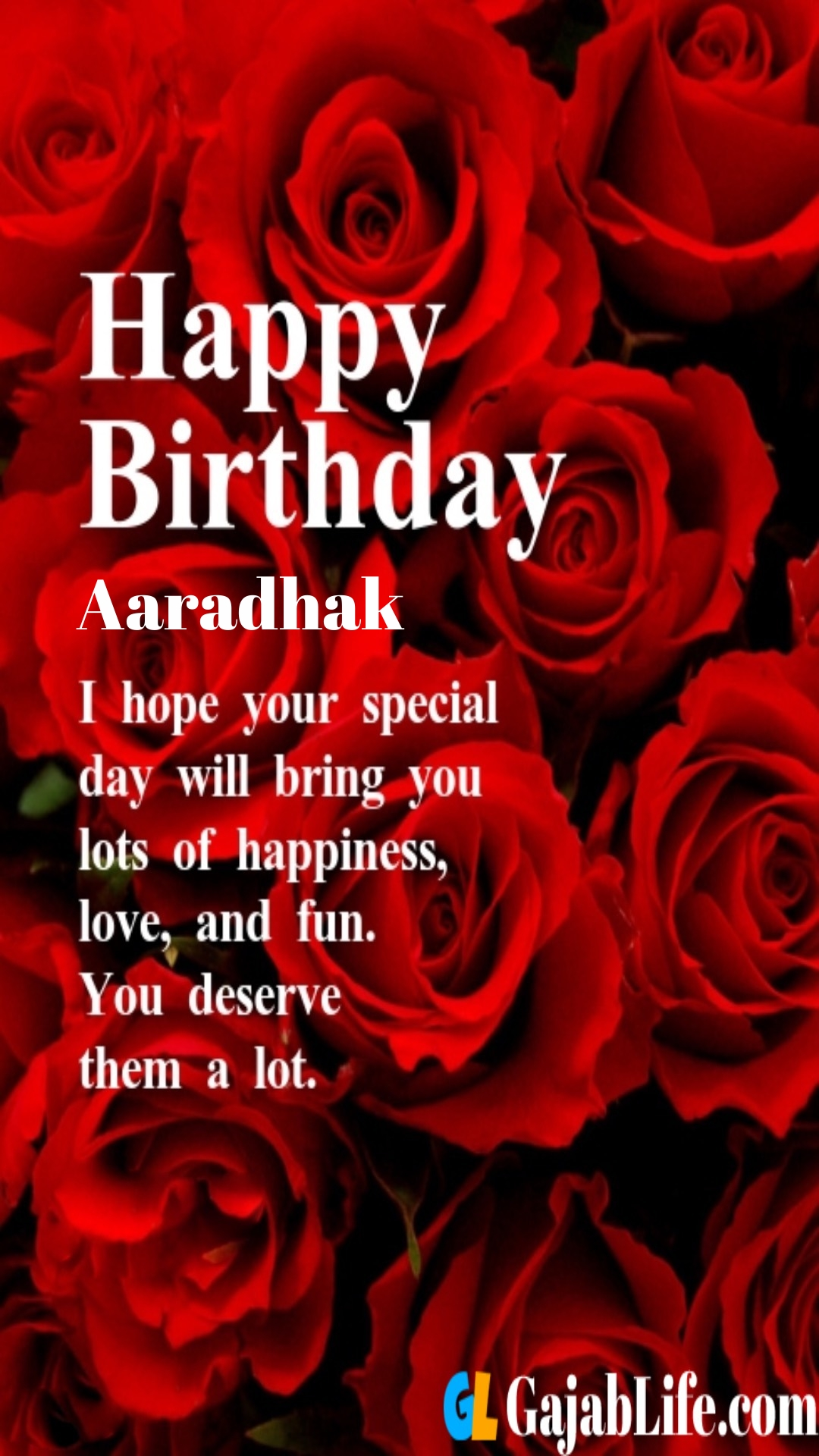 Aaradhak birthday greeting card with rose & love