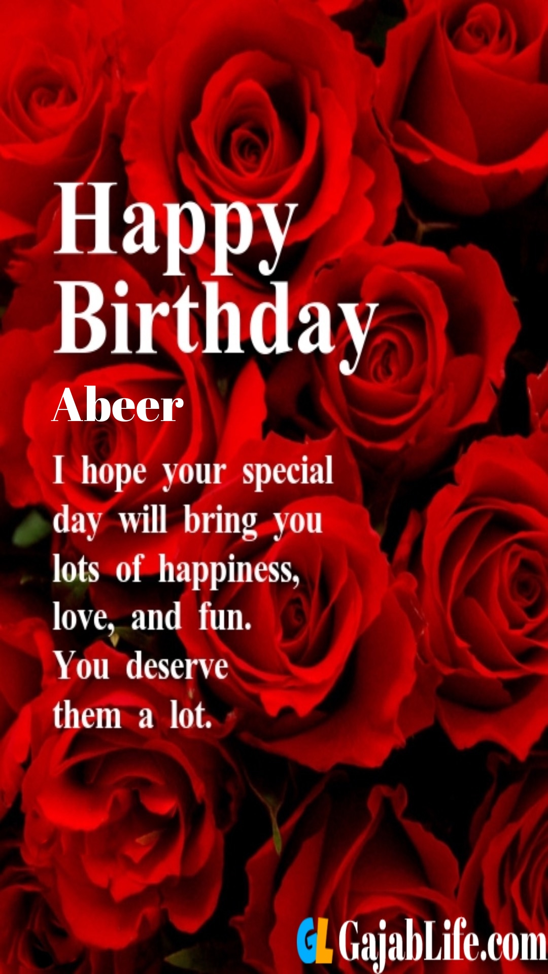 Abeer birthday greeting card with rose & love