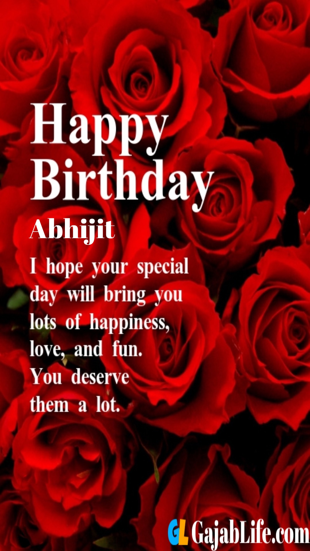 Abhijit birthday greeting card with rose & love