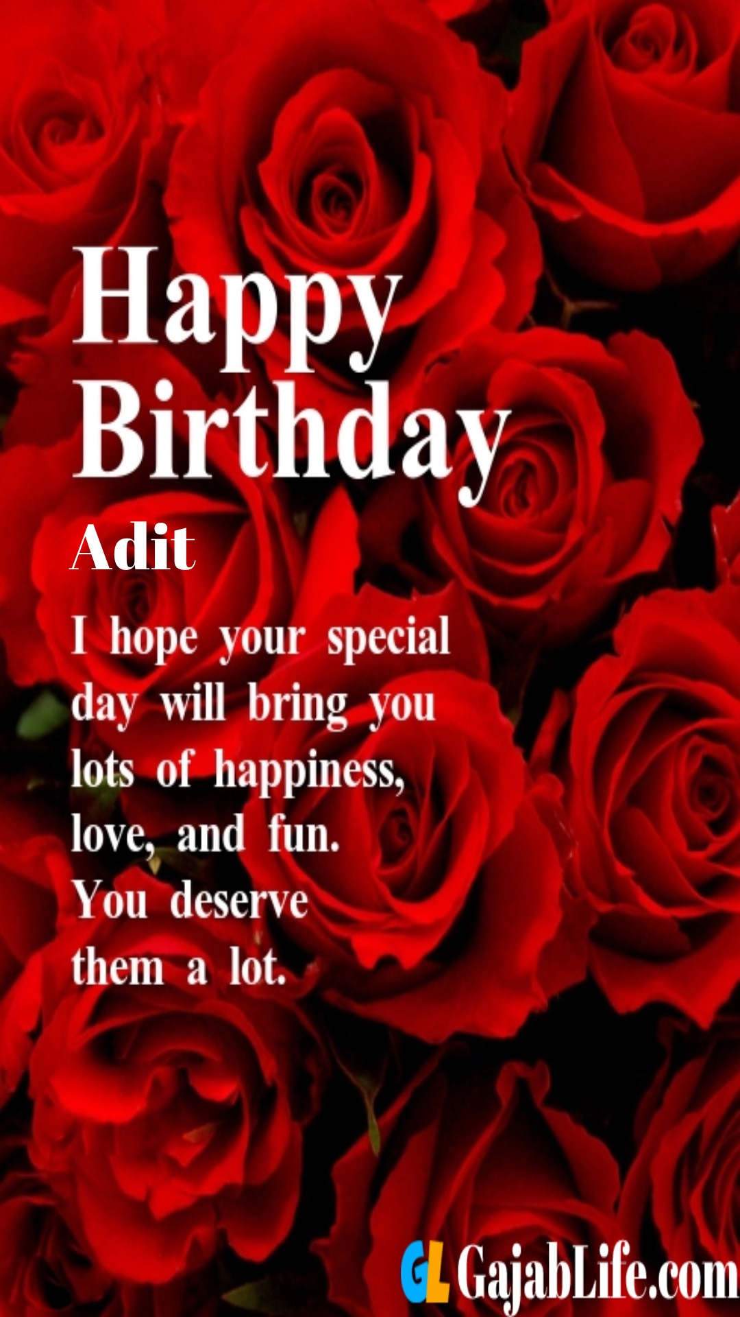 Adit birthday greeting card with rose & love