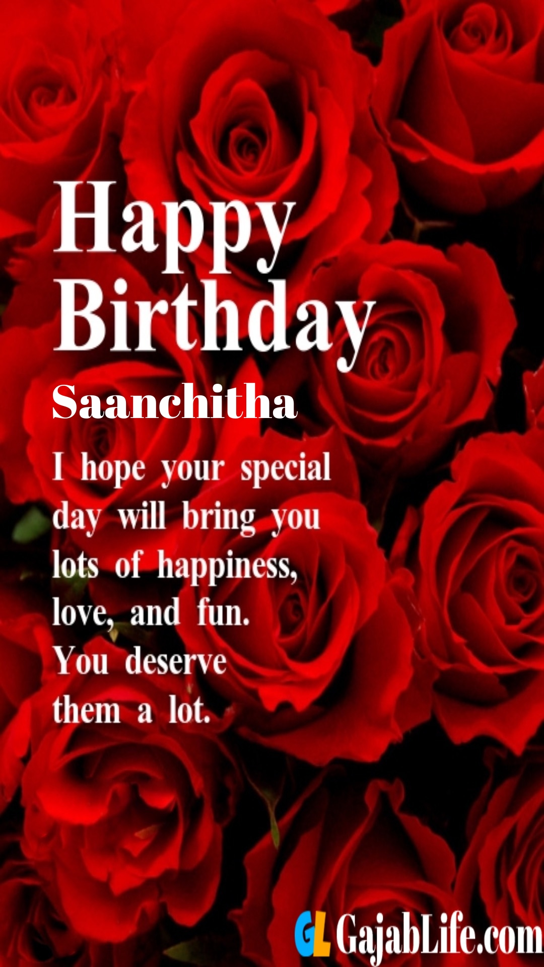 Saanchitha birthday greeting card with rose & love