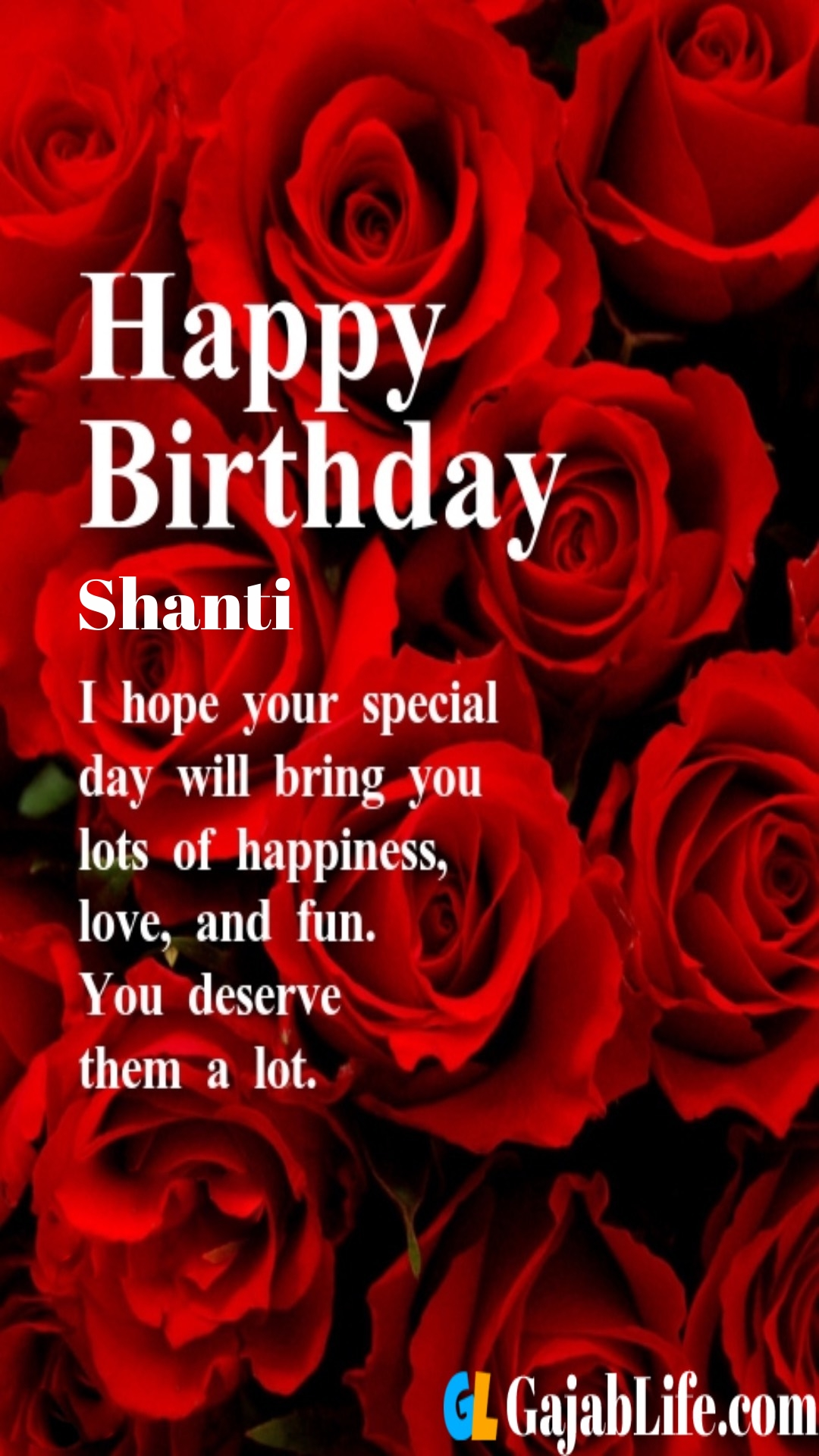 Shanti birthday greeting card with rose & love