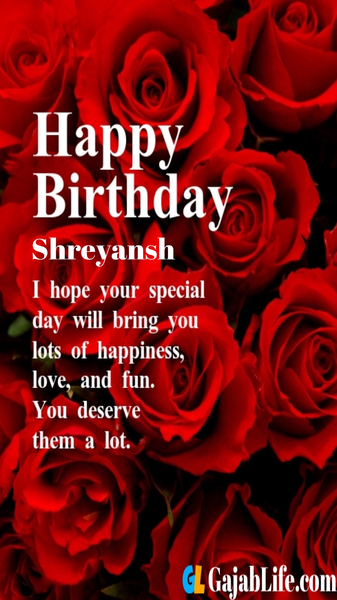 Shreyansh birthday greeting card with rose & love