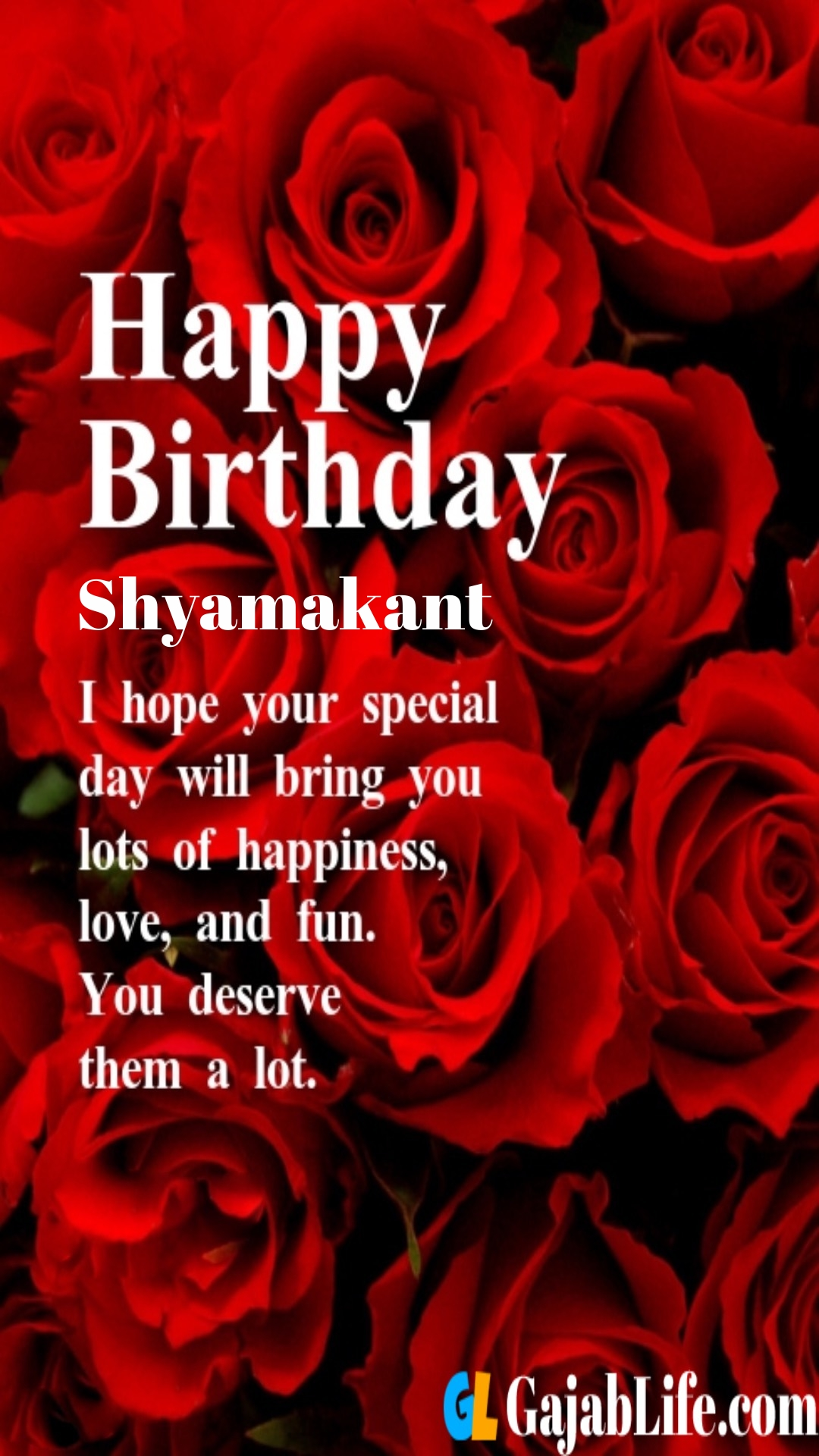 Shyamakant birthday greeting card with rose & love