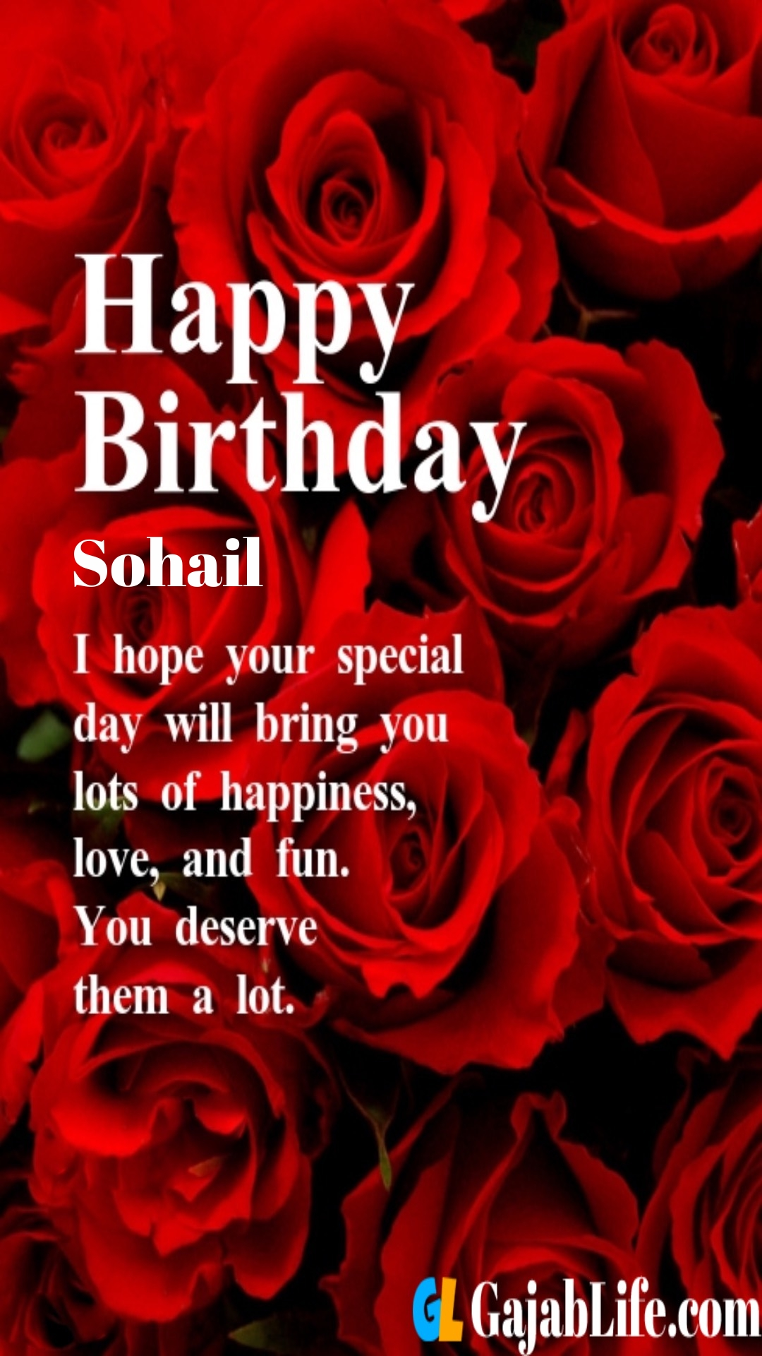 Sohail birthday greeting card with rose & love
