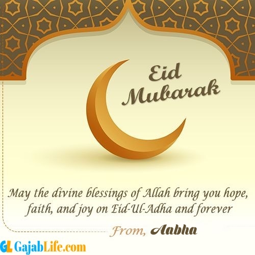 Aabha create eid mubarak cards with name