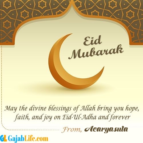 Acaryasuta create eid mubarak cards with name