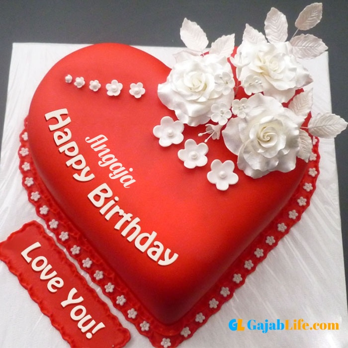 Free happy birthday love angaja wish image cake with name