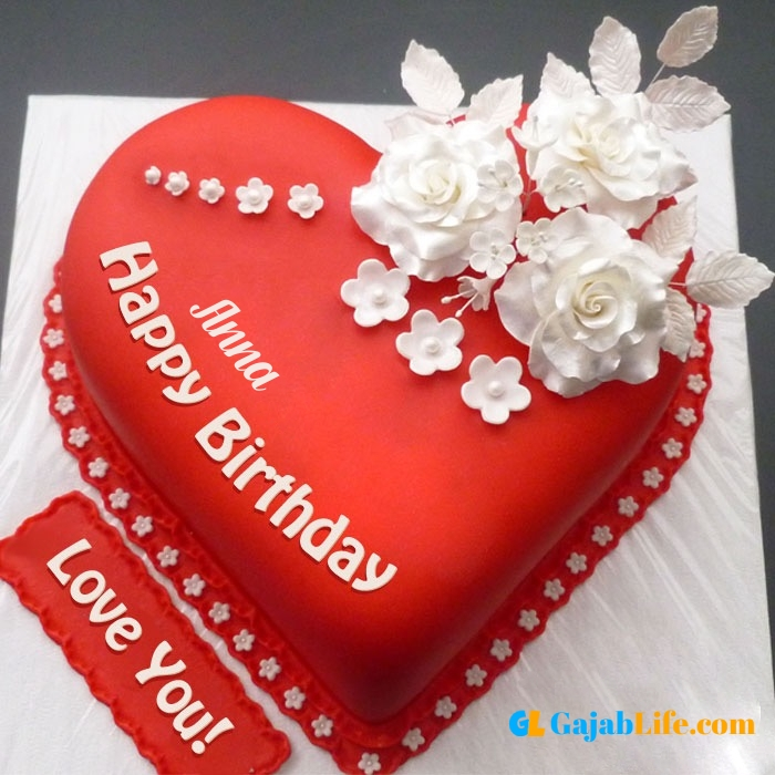 Free happy birthday love anna wish image cake with name