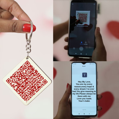 keychain with love qr code birthday gift for girl