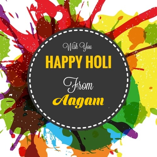 Aagam happy holi images with quotes with name download