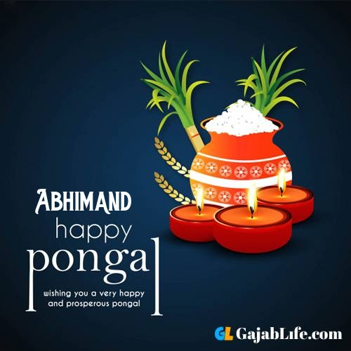 Abhimand happy pongal wishes images name pictures greeting card in telugu tamil