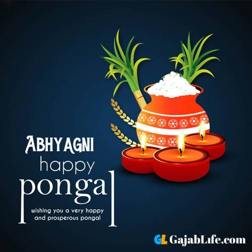 Abhyagni happy pongal wishes images name pictures greeting card in telugu tamil