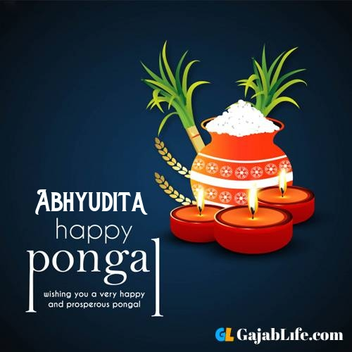 Abhyudita happy pongal wishes images name pictures greeting card in telugu tamil