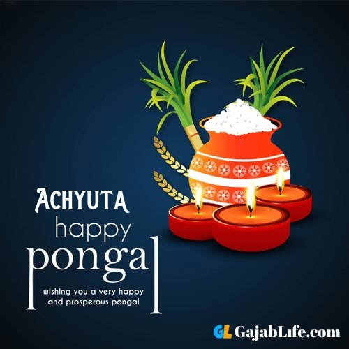 Achyuta happy pongal wishes images name pictures greeting card in telugu tamil
