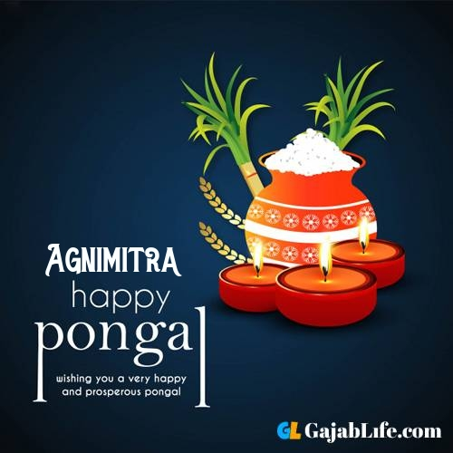 Agnimitra happy pongal wishes images name pictures greeting card in telugu tamil