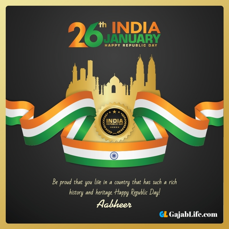 Happy republic day aabheer wishes quotes images pics with name