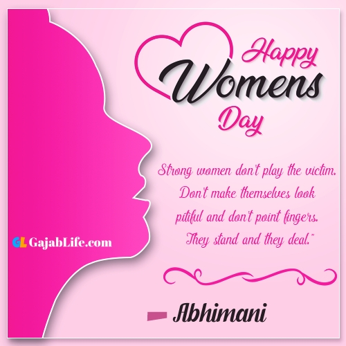 Happy women's day abhimani wishes quotes animated images