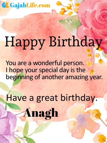 Have a great birthday anagh - happy birthday wishes card