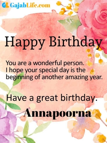 Have a great birthday annapoorna - happy birthday wishes card