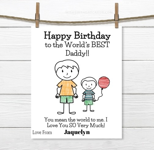 Jaquelyn happy birthday cards for daddy with name