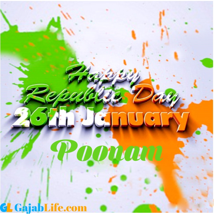 Create Your Republic Day Wallpaper Poonam With Name Profile Picture For Whatsapp January 2021