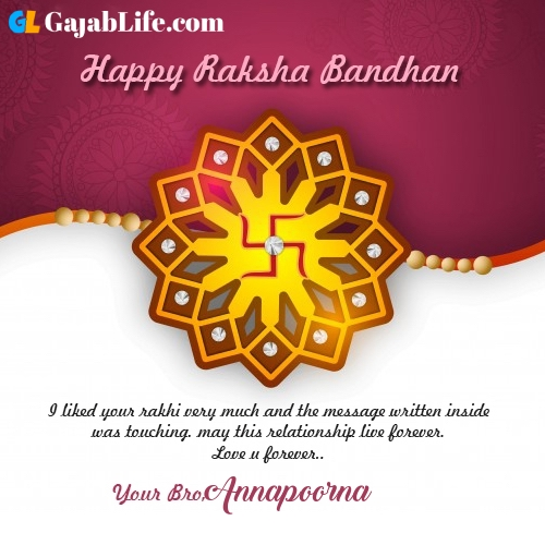 Annapoorna rakhi wishes happy raksha bandhan quotes messages to sister brother