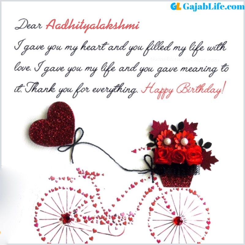 Aadhityalakshmi romantic and special birthday wishes for lover