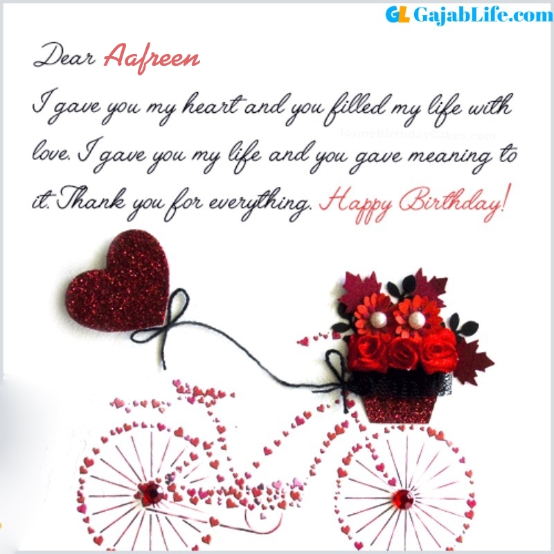 Aafreen romantic and special birthday wishes for lover