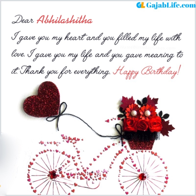 Abhilashitha romantic and special birthday wishes for lover